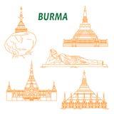 Alte buddhistische Tempel von Birma verdünnen Linie Ikonen Stockfotos