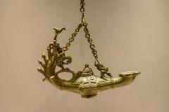 Alte byzantinische Öl-Lampe, Museum von anatolischem Civilistions stockbild