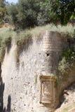 Alte byzantinische Festungswand wurde mit Anlagen überwältigt Lizenzfreie Stockbilder