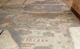 Alte byzantinische Karte des Heiligen Landes auf Boden von Madaba St. George Basilica, Jordanien Lizenzfreie Stockbilder