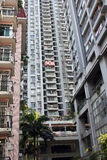 Alte case residenziali ammucchiate Fotografia Stock Libera da Diritti