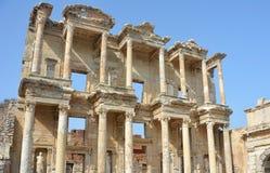 Alte Celsiusbibliothek in Ephesus die Türkei Stockbild