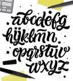 Alte Charaktere des Alphabetes geschrieben mit einer Bürste Stockfoto