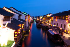 Alte China-Stadt nachts Stockfotografie