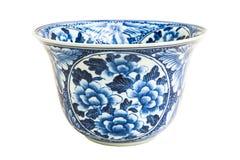 Alte chinesische Blumenmuster-Artmalerei auf der keramischen Schüssel Stockfoto