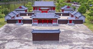 Alte chinesische Dorfreplik am herrlichen Porzellanvolkdorf Stockfoto