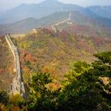 Alte Chinesische Mauer von China auf Autumn Season Lizenzfreie Stockfotos