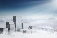 Alte colonne concrete sul cielo Fotografie Stock Libere da Diritti