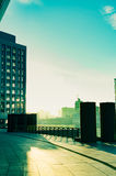 Alte costruzioni della città nel tramonto Fotografia Stock
