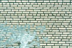 Alte cyan-blaue getonte verwitterte Backsteinmauerbeschaffenheit Stockbild