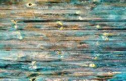 Alte cyan-blaue und braune gemalte hölzerne Kontrastbeschaffenheit der Weinlese Stockbilder