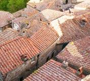 Alte Dächer in mediaval Sorano-Stadt Stockbilder