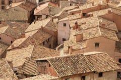 Alte Dächer von Albarracin, Aragonien, Spanien Stockfotografie