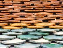 Alte Dachplatten des roten Backsteins Lizenzfreies Stockbild