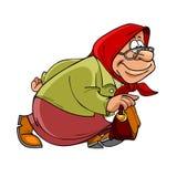 Alte Dame der Karikatur in einem Kopftuch geht schnell Lizenzfreie Stockbilder