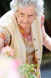 Alte Dame mit ihren bunten Blumen Stockbilder