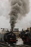 Alte Dampfsowjetlokomotive Zurückhaltendes Foto Abbildung der roten Lilie Rote Stern und beschriften UDSSR Stockbild