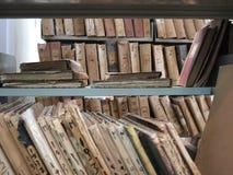 Alte Dateien in der Bibliothek Lizenzfreie Stockfotografie