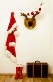 Alte Dekoration für Weihnachten in der Weinleseart im roten Weiß und in b Lizenzfreie Stockfotografie