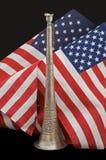 Alte dekorative Hupe mit amerikanischen Flaggen Stockbild
