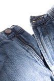 Alte Denim-Blue Jeans Knopf und Reißverschluss Stockbilder