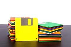 Alte Disketten mit leerer gelber Scheiben-Front lizenzfreies stockfoto