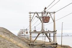 Alte Drahtseilbahn für Kohlentransport in Longyearbyen Stockfoto