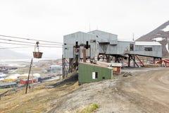 Alte Drahtseilbahn für Kohlentransport in Longyearbyen, Spitsberg Stockfotos
