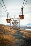 Alte Drahtseilbahn für Kohlentransport, Svalbard, Norwegen Lizenzfreie Stockfotografie