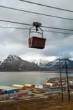 Alte Drahtseilbahn für Kohlentransport, Svalbard, Norwegen Stockfoto