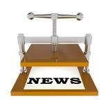 Alte Druckmaschine lokalisiert auf Weiß Stockfoto