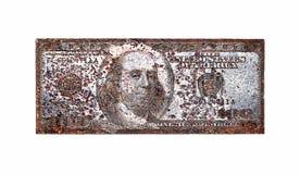 Alte Druckplatte für 100 Dollar, lokalisiert auf weißem Hintergrund. Stockfotografie
