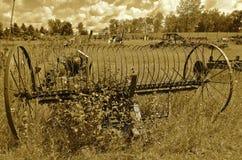 Alte Dumprührstange umgeben durch Unkräuter und langes Gras Stockbild