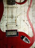 Alte E-Gitarre auf Weiß Stockfoto