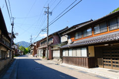 Alte Einkaufs-Straße Komaba in Achi-Dorf, Süd-Nagano, Japan Lizenzfreies Stockfoto