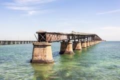 Alte Eisenbahn-Brücke an den Florida-Schlüsseln Stockbild