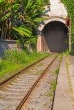 Alte Eisenbahn mit dem Bogen des Tunnels Stockfoto