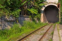 Alte Eisenbahn mit dem Bogen des Tunnels Lizenzfreie Stockbilder