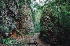 Alte Eisenbahn oder Eisenbahn oder Bahngleise unter Bergen im tropischen Wald im Sommer Stockfoto