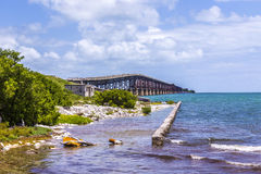 Alte Eisenbahnbrücke bei Bahia Honda nahe Key West Lizenzfreies Stockbild
