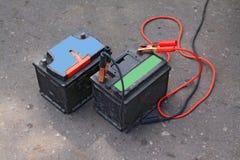 Alte elektrische Batterien Stockfotos