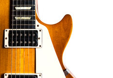 Alte elektrische Gitarre auf weißem Hintergrund Lizenzfreie Stockfotos