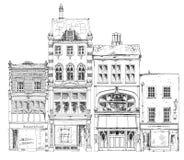 Alte englische Reihenhäuser mit kleinem Shop oder Geschäft auf Erdgeschoss Skizzensammlung Stockfoto