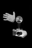 Alte Entfernungsmesserweinlese und Retro- Fotokamera mit Farbeffekt Stockfoto