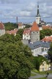 Alte entsteinte Straßen, Häuser und rote Dächer von altem Tallinn am Sommertag Lizenzfreie Stockfotos