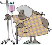 Alte ethnische Frau im Krankenhauskleid, das ein I drückt V wagen vektor abbildung