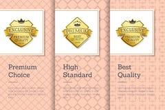Alte etichette dorate Choice premio di qualità standard Fotografie Stock Libere da Diritti