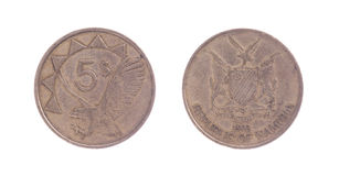 Alte fünf-Dollar-Münze, namibische Währung Lizenzfreies Stockfoto