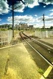 Alte Fabrik-und Zug-Linie Lizenzfreies Stockbild