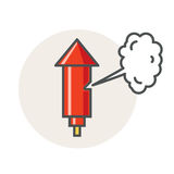 Alte Fabrikdampfpfeife Rote Hornikone des Vektors Flaches Artdesign Stockfoto